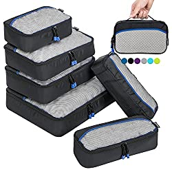 Zomake Packing Cubes 6pcs, Travel Organizers Luggage Sets(black)