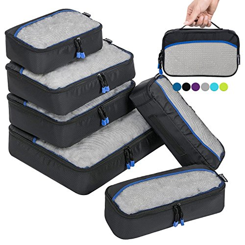 Organizador para Maleta,6 Piezas bolsa de almacenamiento Maleta Caja de almacenamiento de viaje(Negro)