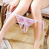 LOVETEA ?? Damen Open Mesh Stickerei Muster Crotch Unterwäsche Perspektive Verstellbare Krawatte Riemen Lace G-Strings Sexy Höschen (Rosa) Test
