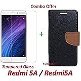 YuniKase COMBO OFFER Xiaomi Redmi 5A / Redmi5A Flip Cover Case Wallet Style Cover + Premium Tempered Glass Screen Protector (BROWN)