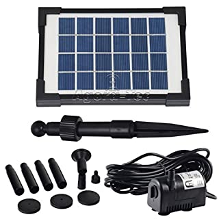 Agora-Tec at 2W Solar Pond Pump 2Hmax: 170L/H Fontainen: 0,65m for Pond or Fountain