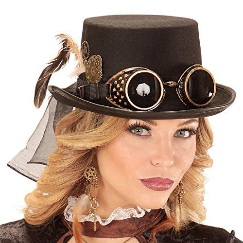 Amakando Gothic Zylinderhut Viktorianische Hut Zahnräder Zahnrad Herrenhut Clockwork Kopfbedeckung Herren und Damen Punk Kostüm Kleidung Steampunk Zylinder mit Brille