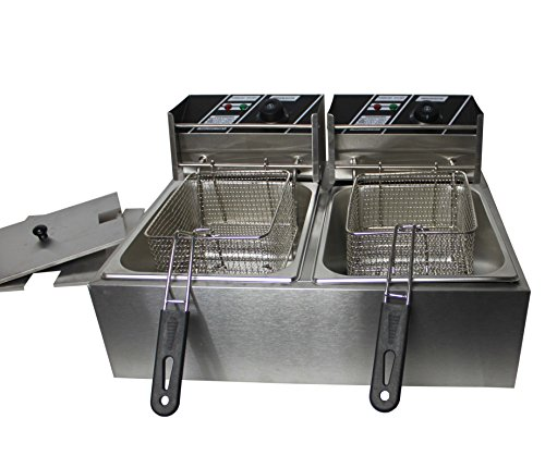 FoxHunter 20L Stainless Steel Commercial Kitchen Home Twin Basket Electric Deep Fat Fryer Chip 2x10L Tank New