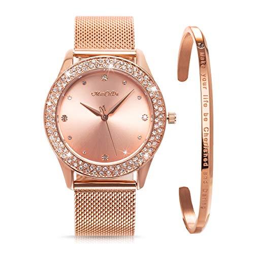 ManChDa Frauen Armbanduhr Kristall Mesh Edelstahl Gurt Damen Quarz Diamant Klassische Mode Romantische + Schmuck Manschette Armband Set (Rosegold)