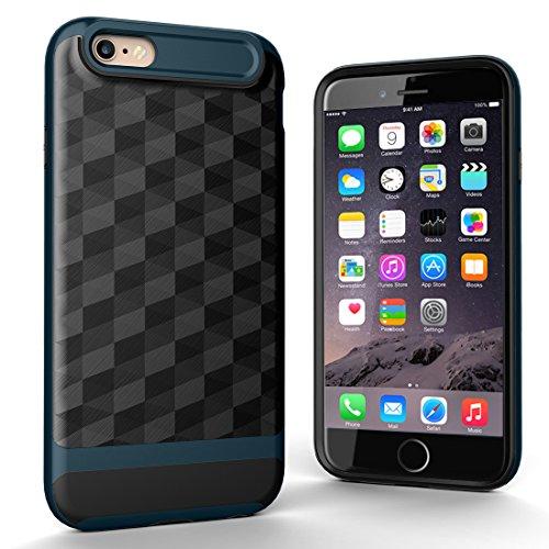 """iPhone 6s Hülle, HICASER Dual Layer Case Shock Proof Prism Textur TPU +PC Bumper Handytasche Schutzhülle für iPhone 6 / 6s 4.7"""" Schwarz / Silber Schwarz / dunkelgrün"""