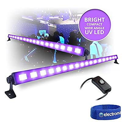 2x LED BAR Black-Light UV Tube Ultraviolet Strip Lighting Mobile DJ Disco 18x 3W