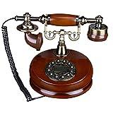 HEIRAO Vintage Rotary Dial Telephone - Retro Landline con Corpo in Legno e Metallo - Redial Handfree Redial e Classic Metal Bell - Good Decoration
