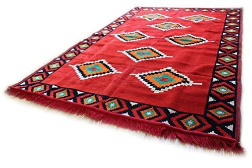 Damaskunst 140 x 200 cm rosso, arancione, verde, nero, bianco, orientale tappeto, kilim, kilim, tappeto,zerbino,pavimenti,tappeto nuovo s 7-4-70