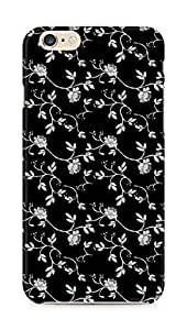 AMEZ designer printed 3d premium high quality back case cover for Apple iPhone 6 plus (black white floral)