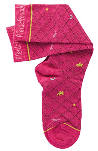 Pferdefreunde Kniestrümpfe Kinder Socken pink - Hohe Mädchenstrümpfe mit Muster, Größe 23-38, K/Sox:31 / 34