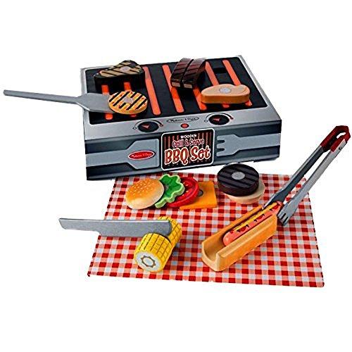 51Ox6C0yn1L - Melissa & Doug BBQ-Set aus Holz zum Grillen & Servieren (Spielzeuglebensmittel aus Holz, 20 Teile)