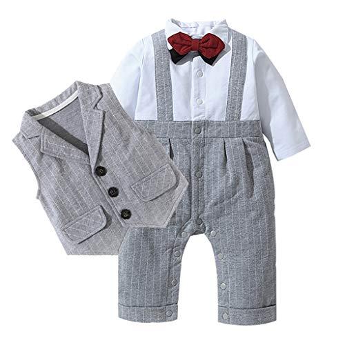 Beikoard Taufbekleidung Kleinkind Baby Bowtie Gentleman Weste T-Shirt Streifen Hose Hochzeitsanzug Gentleman Hochzeit Anzüge Gentleman Festliche Hochzeit Stoffsets