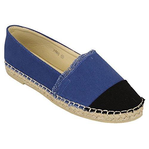 Femmes Chaussures Plates Toile Femmes Espadrilles Chaussures Plates À Enfiler Bella Étoile Mode Neuve Bleu - J1560