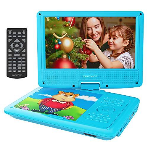 DBPOWER 9.5'' Tragbarer DVD-Player mit Wiederaufladbarer Batterie, Schwenkbaren Bildschirm, Unterstützt SD-Karte und USB, mit 1.8M Auto-Ladegerät und Stromadapter (Blau)