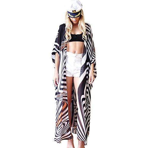LLG Kimono-Cardigans Bademode Pareos Strandkleider, Damen Bikini Sets Bademode Strandkleid Einheit Größe Kleidung Strand Hemdkleid V-Ausschnitt Rock(KIMIC110) (Color 4)