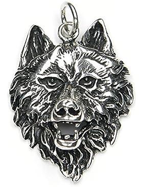 Wolf Schmuck Anhänger 925 Silber, Länge mit Öse: 4cm Wolfskopf