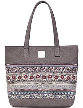 DCCN Canvas Shopper Bag Damen Canvas Handtaschen Tote Bag mit Blumen Muster