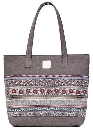 Strand Tasche Tote Handtasche (DCCN Canvas Shopper Bag Damen Canvas Handtaschen Tote Bag mit Blumen Muster)