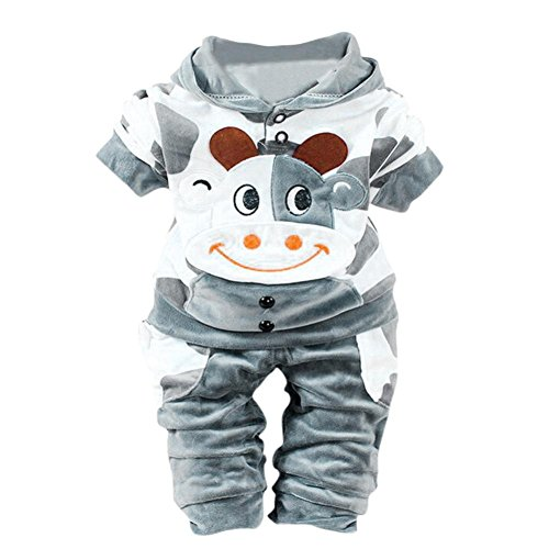Kobay Neugeborene Baby Mädchen Jungen Cartoon Kuh warm Outfits Kleidung Samt mit Kapuze Tops Set (80 / 6 Monat, Grau)