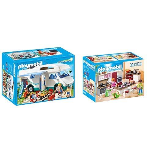 Playmobil 6671 - Familien-Wohnmobil &  9269 - Große Familienküche