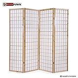 Homestyle4u 75 Paravent Raumteiler 4 teilig 4-fach Holz in Natur weißes Shoji Reispapier Trennwand Spanische Wand Höhe 175 cm zusammenklappbar