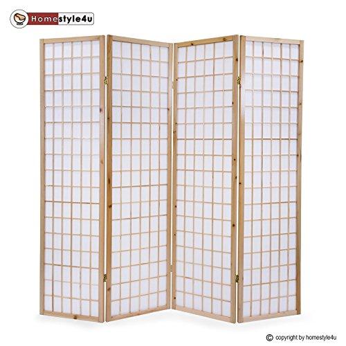 Homestyle4u 75, Paravent Raumteiler 4 teilig, Holz Natur, Reispapier Weiß, Höhe 175 cm (Shoji Raumteiler Screen)