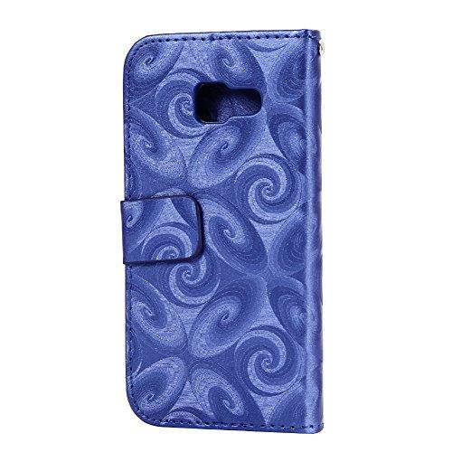 Galaxy A3 2016 Cuir Housse Or Rose,Portefeuille Etui pour Samsung A3 2016,Huphant Simple Book Style Cover Pochette Folio Flip Wallet Coque de Protection Premium PU Cuir Etui Verre Vin Motif Liquid Des Bleu