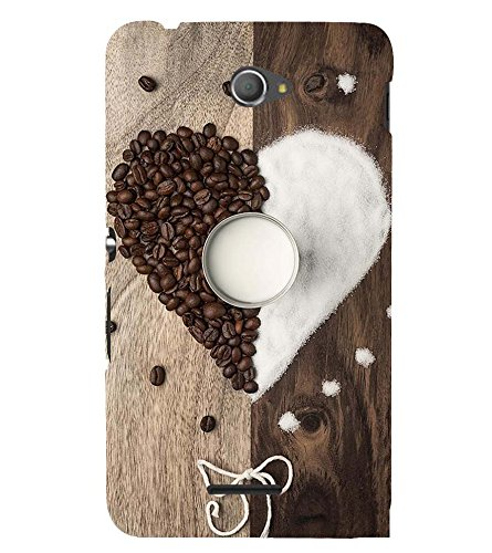 Assorted Coffee Beans and Sugar Making A Heart and Depicting Sweetness 3D Hard Polycarbonate Designer Back Case Cover for Sony Xperia E4 Dual :: Sony Xperia E4