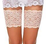 ADOME Elastische Strumpfbänder Spitze Oberschenkel bänder Socken Anti-Chafing anti scheuern Beige EU XL