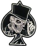 """b2see Biker Skull Aufnäher Patches Aufnäher groß für Jacken Jeans Kleidung Stoff Kleider Aufnäher Bügelbilder Sticker Bügel Patches Applikation Aufbügler zum aufbügeln """" Sense 26 x 23 cm"""
