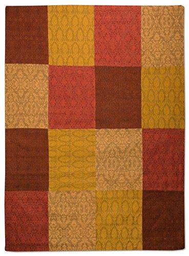 Morgenland Patchwork Teppich WEYS 180 x 120 cm Braun Gold Jacquard Vintage Bunt Kariert Felder Kasten 100% Viskose Antirutsch Handgearbeitet Wohnzimmer Flur Diele Kurzflor Flachgewebe Modern - In 9 versch. Farben, Viele Größen -