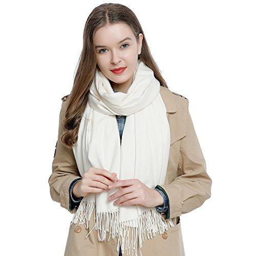 DonDon Damen Schal einfarbig weich 185 x 65 cm creme-weiß -