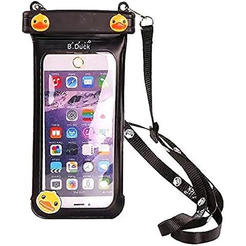 SHANGRUN Modello Anatra Sveglia del Fumetto Universale Sacchetto Impermeabile Impermeabile per Spiaggia/Pesca, Nuoto Viaggio Sacchetto Impermeabile di Copertura per iPhone 6s / 6s plus / 6 / 6 plus / 5s / 5c / 5, Samsung s6 / s6 edge / s5 / s4/ MEIZU Mx4 Pro/ Vivo x5 max/ Huawei P8 Lite/ HTC One X/ Galaxy Note 4ed Altri Smartphone, ecc. Nero