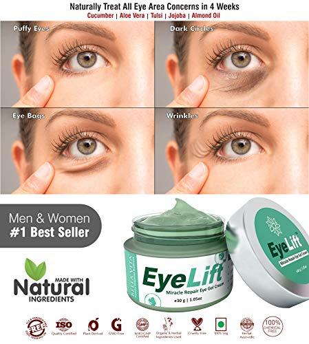 Bella Vita Organic EyeLift Under Eyes Cream Gel for Dark Circles, Puffy & Wrinkles for Women & Men, 30gms