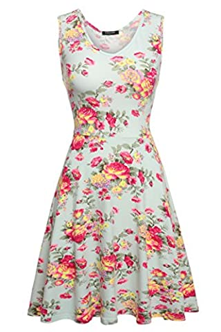ACEVOG Women's Sexy Sleeveless Fitted Summer Flare Floral Dress Green XL