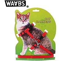 Waabs Arnés para gatocon collar ajustable de nailon y correa