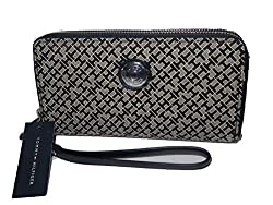 Tommy Hilfiger Black Jacquard Double Zip Around Wristlet Wallet Clutch