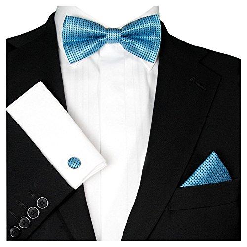 Karo kariert | Petrol Blau | Manschettenknöpfe Einstecktuch | Schleife zum Anzug Seide-Optik ()