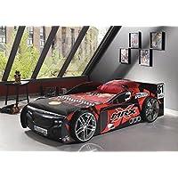 VIPACK SCMRX200K Autobett , Maße circa 229 x 60 x 110 cm, Liegefläche 90 x 200 cm , schwarz / rot lackiert  aufgedruckte Optik