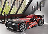Vipack SCMRX200K Autobett, Maße Circa 229 x 60 x 110 cm, Liegefläche 90 x 200 cm, Schwarz/Rot Lackiert aufgedruckte Optik