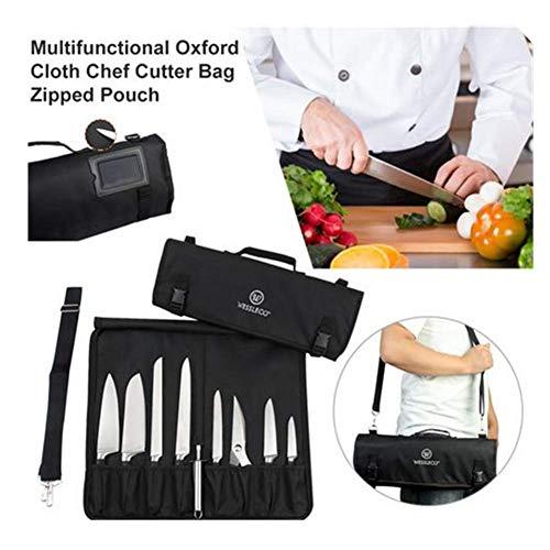 (Nur Tasche) - Multifunktionale Oxford-Kochmessertasche (8+ Steckplätze) - Messerträger für 10 Messer, 1 Fleischerbeil und 3 Utensilientaschen. Einfach mit dem Schultergurt zu tragen Für den Profi -
