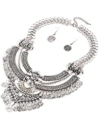 DAMEN Vintage Anhänger Herz Lätzchen Kragen Statement Türkis Halskette Mode
