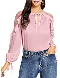 95118fc51816e3 Blooming Jelly Damen Spitze Cold Shoulder Tops Tie V Ausschnitt Langarm Top  Drawstring Lose Rüschen Bluse
