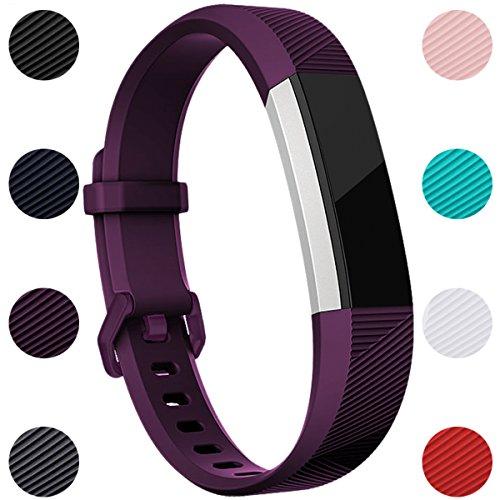 Für Fitbit Alta HR Armband, HUMENN Fitbit Alta Armband Verstellbares Sport Ersatz Band Ersatzarmband Wristband Silikonarmband Fitness Zubeh?rteil mit Metallschlie?e Large Pflaume