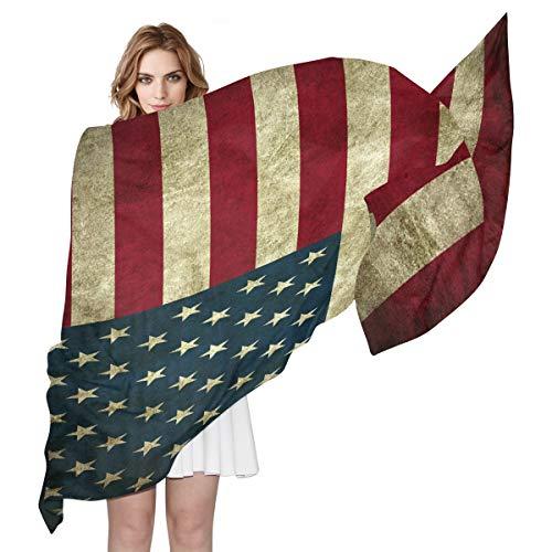 aus Seide, Vintage-Stil, mit USA-Flaggen-Muster, leicht, lang, weich, Chiffon, Schal für Damen und Mädchen ()