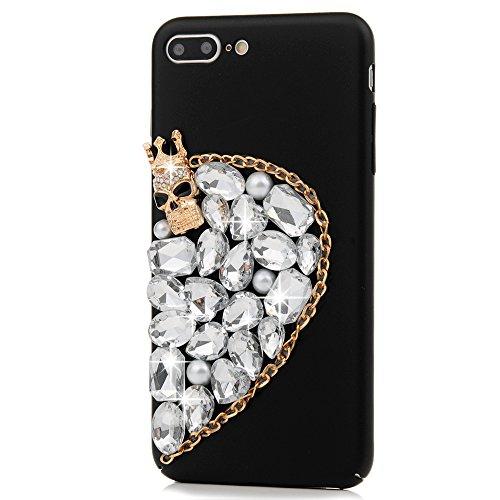 Mavis's Diary Hülle für iPhone 7 Plus(5,5 Zoll)Case PC Hard Glanz Strass 3D Muster Gold Schädel Transparent Diamant Lieben Dekoration Mode-Design Weiblich Back Cover Tasche Schutz Etui Schale Backcove Gold Schädel Transparent Diamant Lieben
