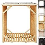 proheim Kaminholzregal XXL 162 x 128 x 72 cm Brennholzregal mit 1,15m³ Volumen Kaminholzunterstand Bitumen beschichtetes Dach und 100% FSC Holz, Ausführung:ohne Rückwand, Farbe:Natur
