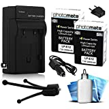 (2 Pack) PhotoMate LP-E12 LPE12 Ultra High Capacity Rechargeable Battery (2400mAh) + Rapid Home AC Wall Charger + Car Adapter + Euro Plug + Cleaning Kit + Mini Tripod For Canon EOS M, EOS-M, M2, EOS-M2, Rebel SL1, 100D DSLR Digital Camera