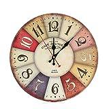 Muium 2019 Nuevo Reloj de Pared de Madera Antiguo silencioso sin tictac de Estilo Vintage para Oficina de Cocina casera Buena decoración la Sala de Estar Dormitorio (E)