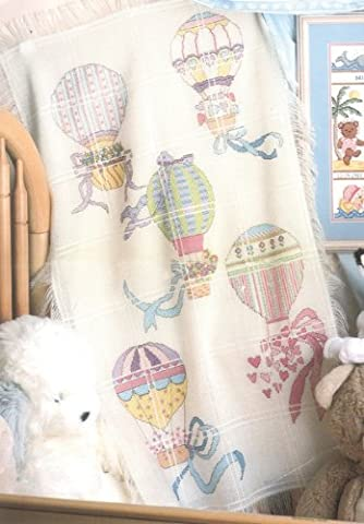 Candamar Designs Size 73.6 x 114.3 cm Hot Air Balloons Baby Afghan Counted Cross Stitch Kit,